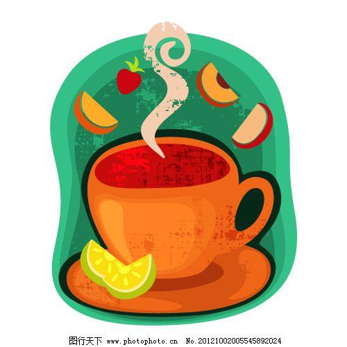 矢量彩色杯子背景 矢量彩色杯子背景免费下载 绘画 咖啡豆 水果