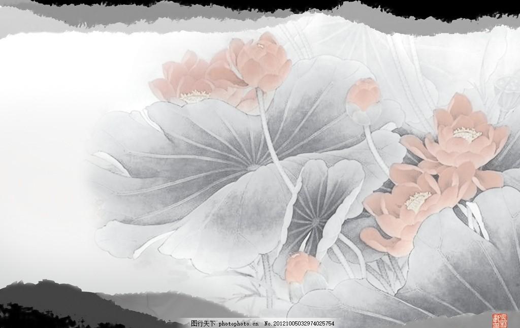 水墨背景图片 墨 水墨 背景 中国风意境图 荷叶 荷花 中国古典 书法
