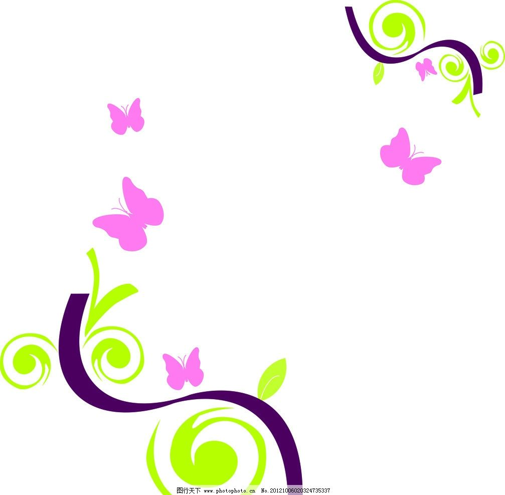 春色满园 蝴蝶 藤树 简约 花边花纹 底纹边框 设计 800dpi jpg