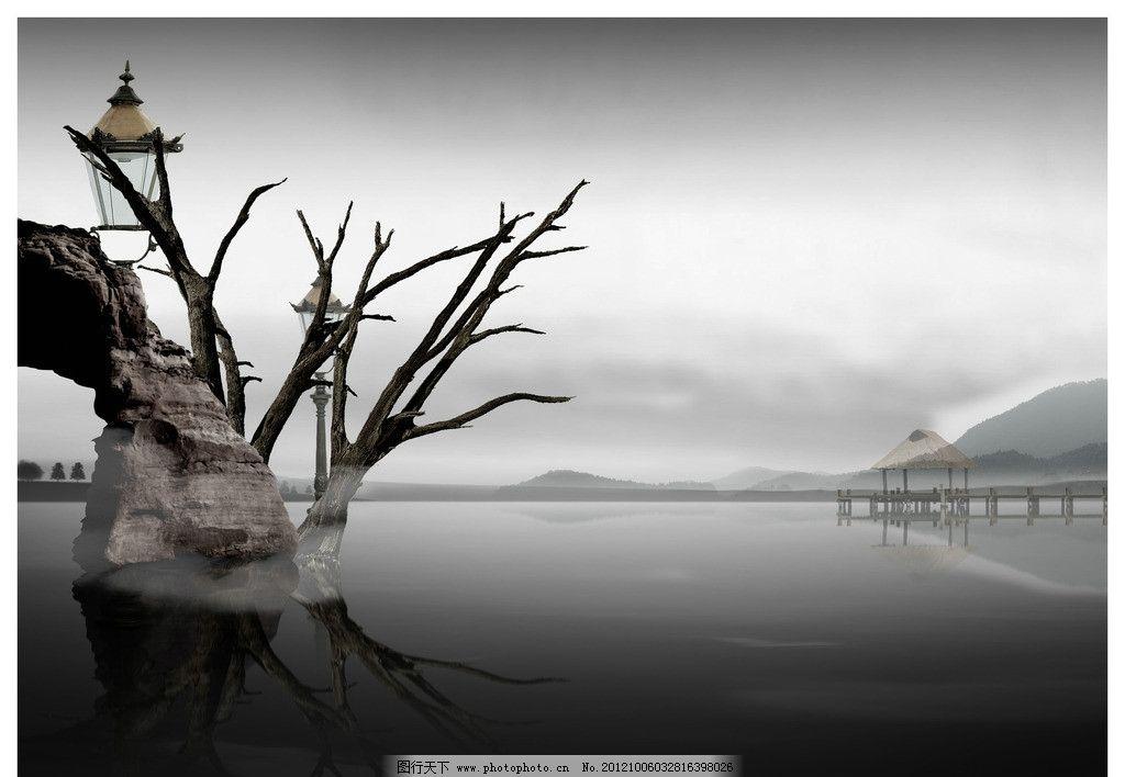 石头 枯树 灯 远山 湖畔 层层叠叠 山脉 倒影 高山 风景 景色 灰色