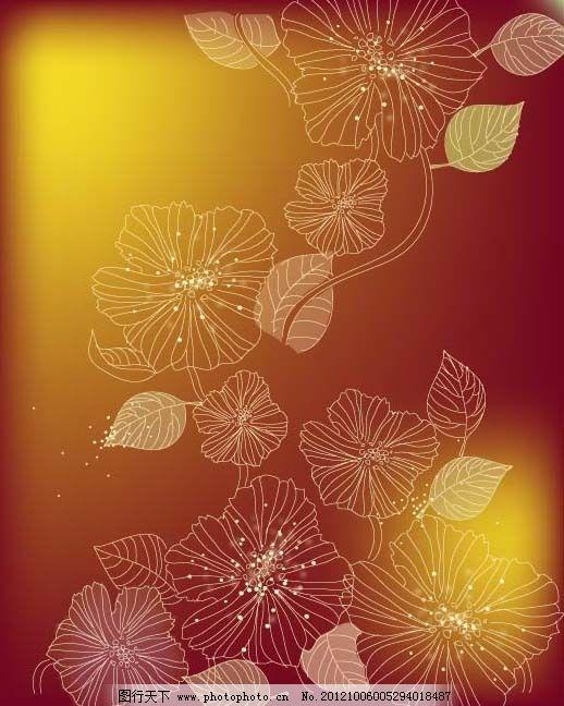 矢量素材线条树叶背景