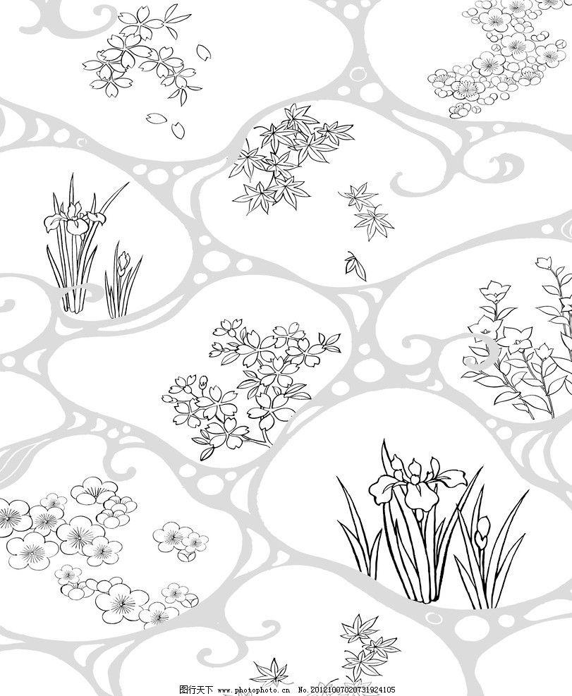 梅花 樱花 兰花 枫叶 白色 线条 壁纸 背景墙 花纹 移门图案 底纹边框