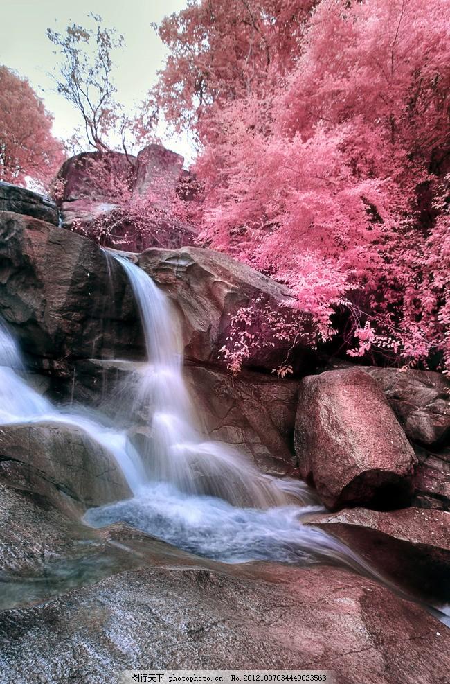 红叶 风景 山水 树叶 石头 流水 天空 调色 秋天 装饰画 立体画