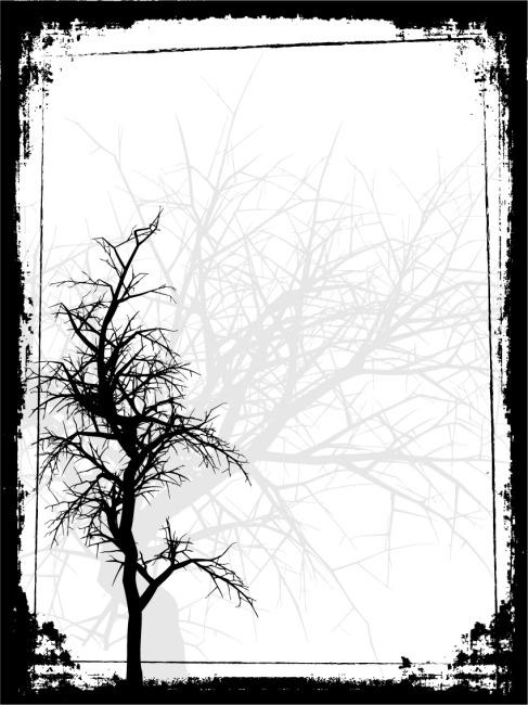 矢量素材树木剪影边框免费下载 大树 怀旧 剪影 墨迹边框 矢量树木