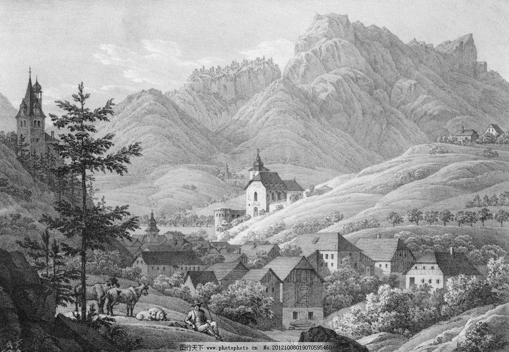 手绘复古风景图片