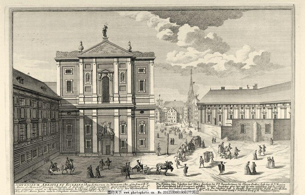 手绘复古建筑 手绘 复古 建筑 绘画 素描 欧式建筑 马车 教堂 绘画