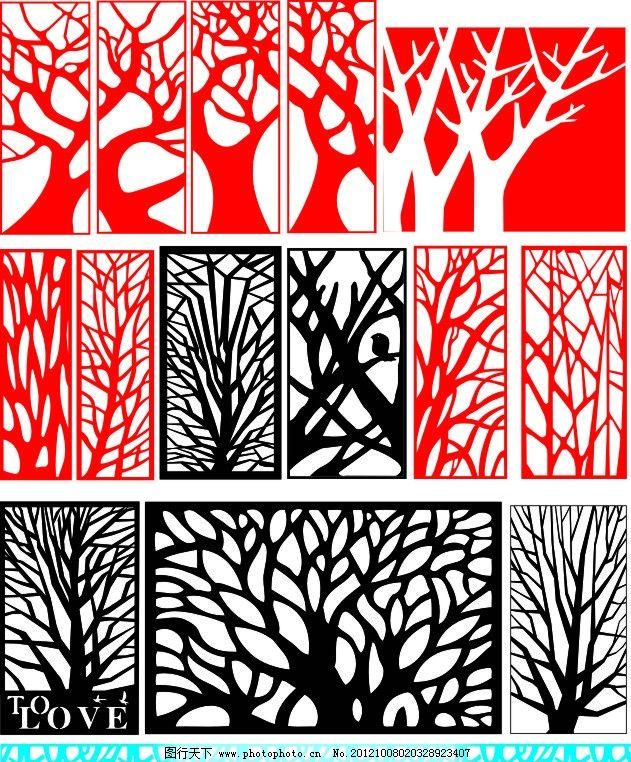 树形简单雕花图片