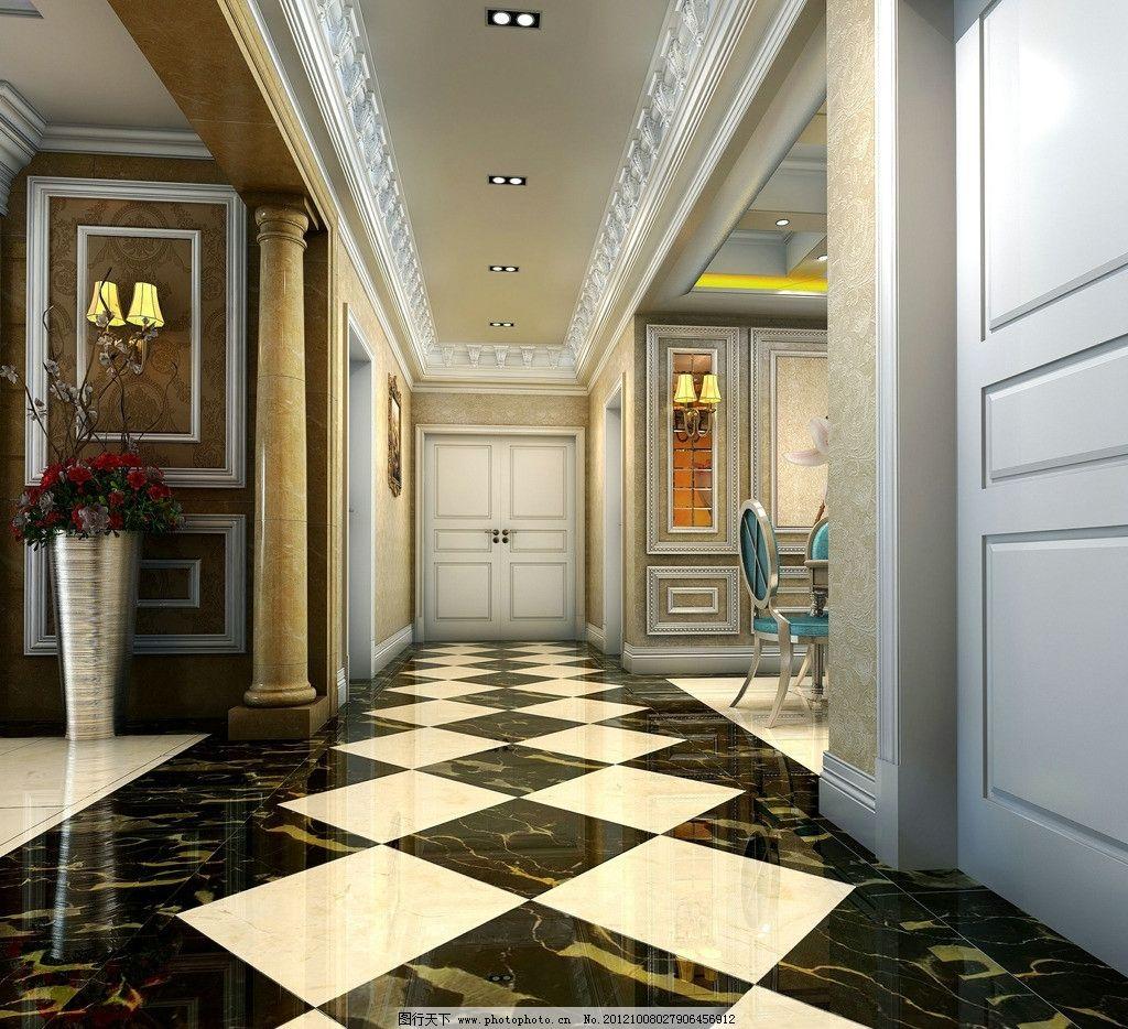 欧式壁灯 欧式角线 花 欧式电视柜 餐桌 餐椅 地面拼花 室内设计 环境