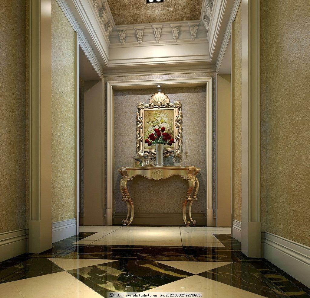 欧式家装卧室玄关 欧式家装 卧室玄关 欧式画框 欧式角线 拼花 室内图片