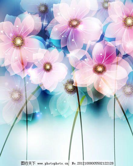 梦幻花朵背景矢量图 梦幻花朵背景矢量图免费下载 叠加 花卉 时尚
