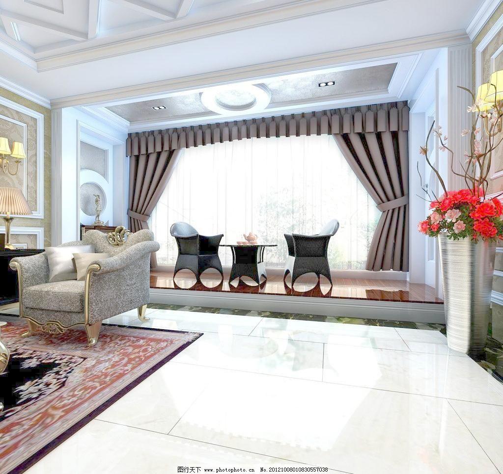 欧式家装客厅茶区 欧式壁灯 欧式门 拼花 室内设计 欧式家装客厅茶区