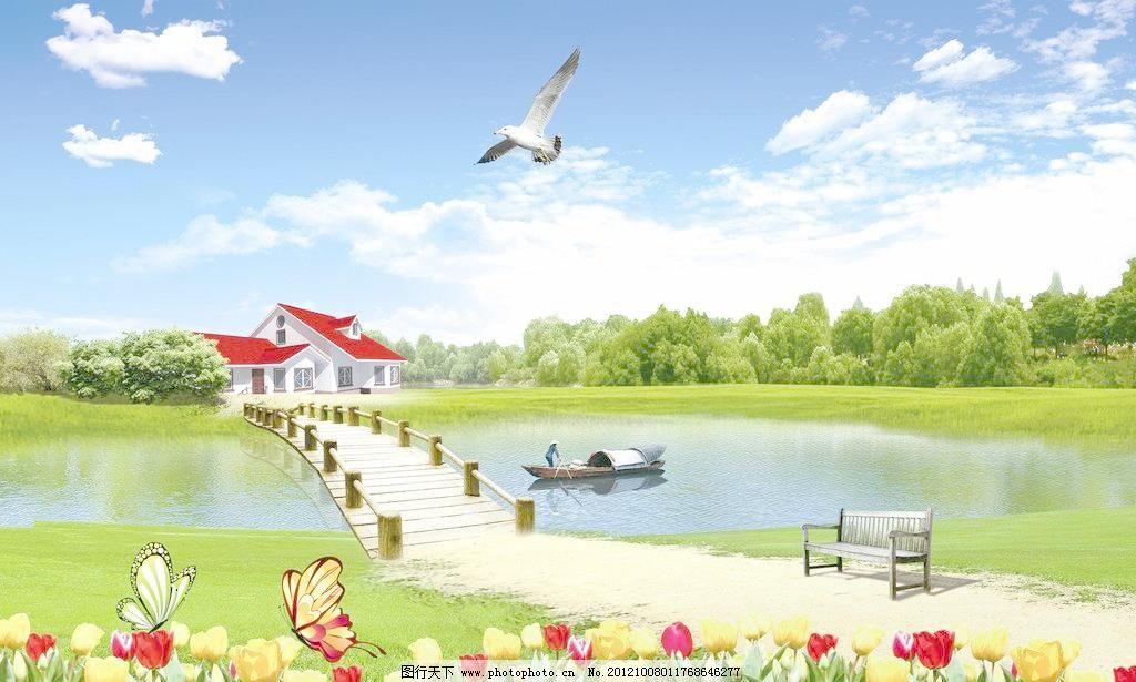 自然风景 仙鹤 风景画 船 小船 轮船 帆船 石头 背景 p 装饰素材 山水