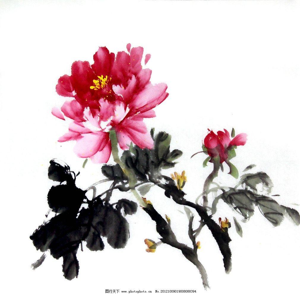 水墨牡丹 美术 中国画 水墨画 牡丹画 红牡丹 国画艺术 绘画书法图片