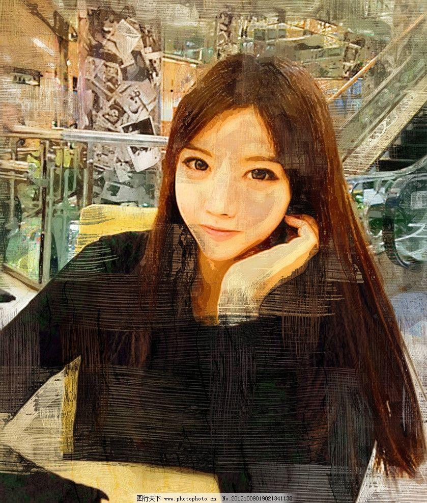 女孩 长发 美女 手绘 绘画 装饰画 无框画 油画 人物 绘画书法 文化