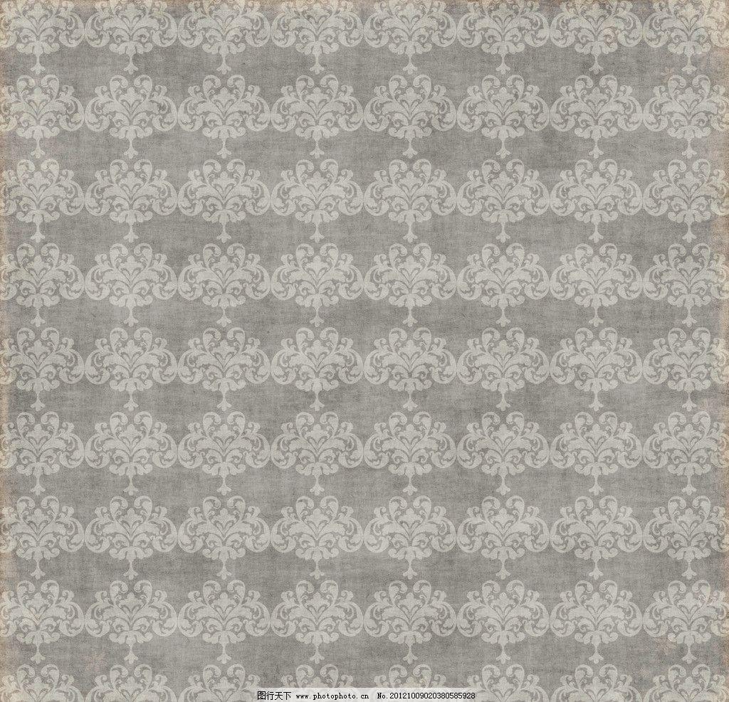 淡雅灰色欧式对称墙纸花纹图片