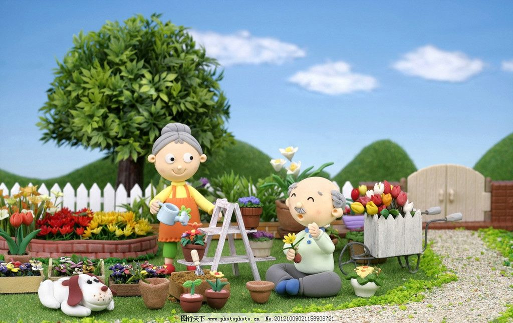花园 浇花图片图片