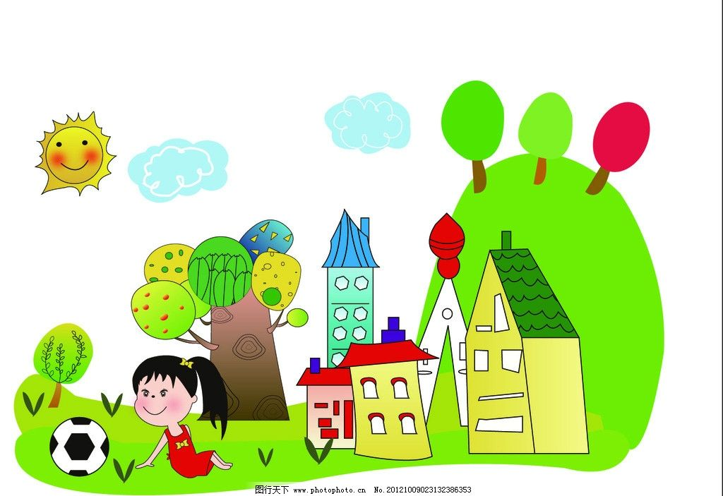 小女孩和大房子的圖畫