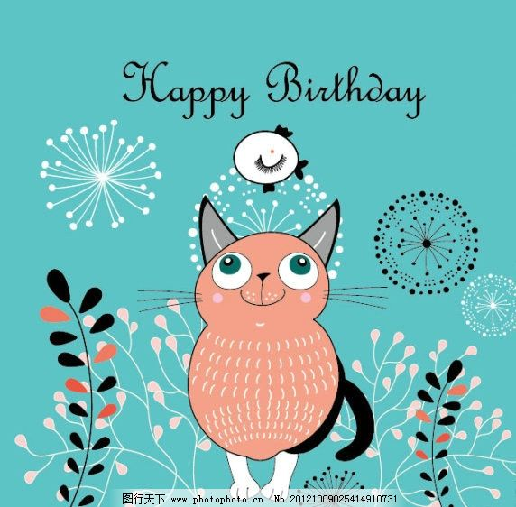 卡通 可爱 猫咪 背景 线条 手绘 图案 植物 叶子 小鱼 卡片 card 花纹
