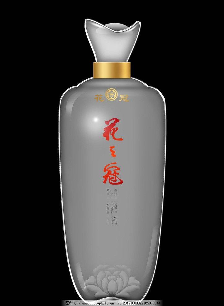 花之冠酒玻璃瓶效果 花冠酒 花之冠酒瓶 玻璃瓶效果图 包装设计 广告