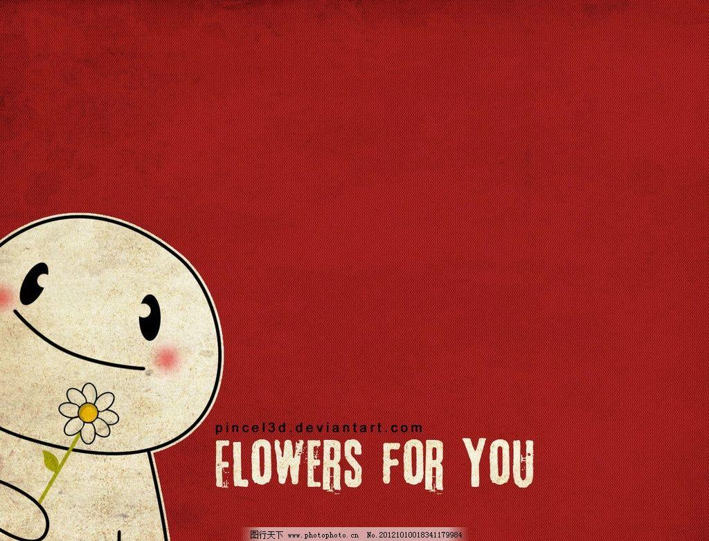 卡通壁纸 可爱卡通 雪人 一枝花 微笑 笑脸 字母 红色背景 动漫动画