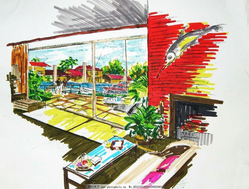手绘景观图片,效果图 橱窗 建筑 室内-图行天下图库