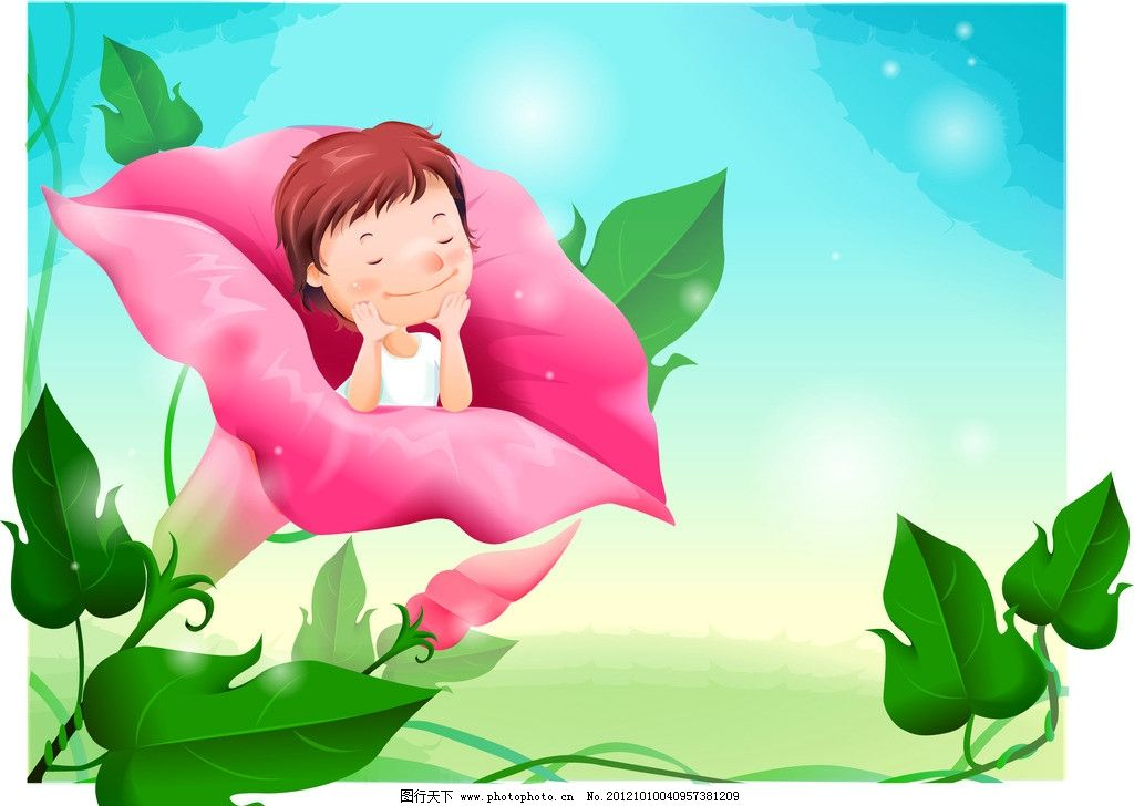 卡通 花朵 可爱小孩 叶子 植物 绿色 天空 喇叭花 漂亮 儿童房壁纸画
