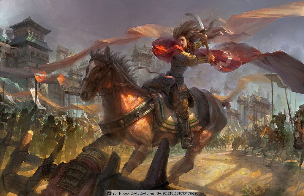 动漫场景 角色设计 游戏场面 厮杀 战场 战争 战马 将军 手绘
