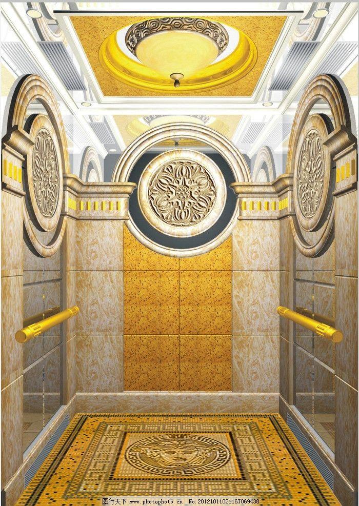 电梯效果图 电梯 地板 复古 酒店电梯 电梯内部 金色 3d作品 3d设计