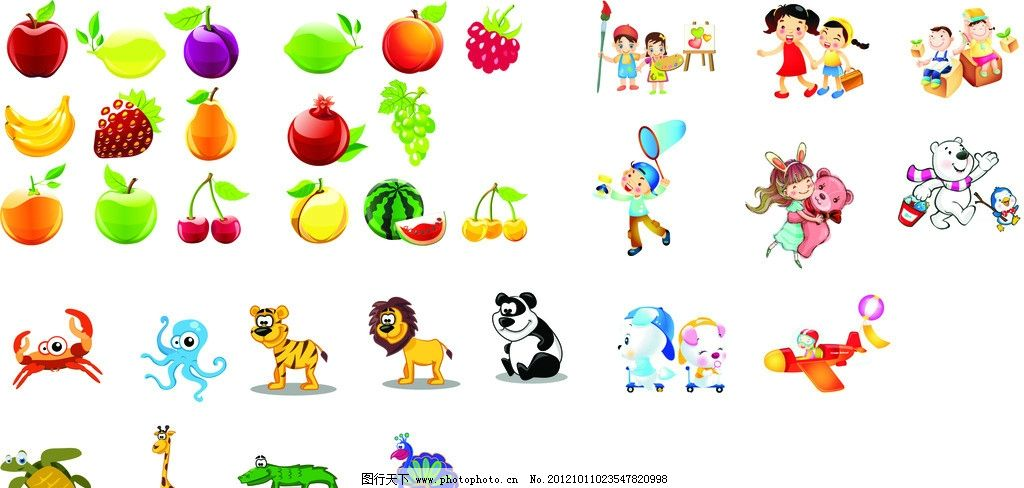 矢量水果动物卡通 矢量 水果 动物 卡通 可爱 儿童幼儿 矢量人物 cdr