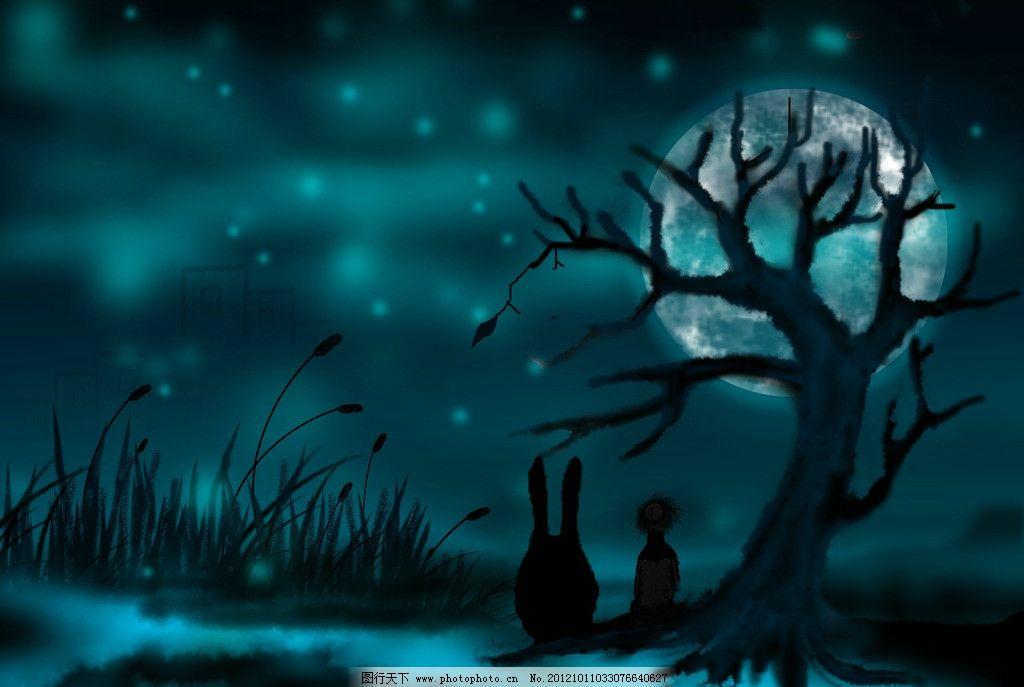 动漫背景 手绘插画 夜晚一个人 蓝色天空 蓝色月光 月亮 草丛