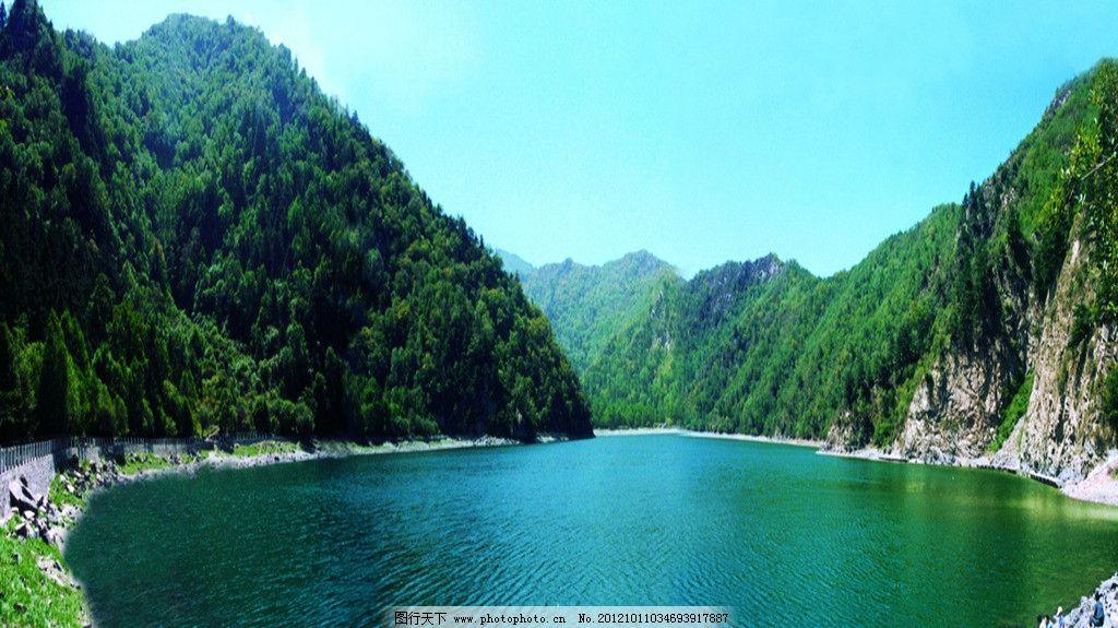 孟达天池春天美景 孟达天池 天池 山川 风景名胜 绿山 碧水 自然景观