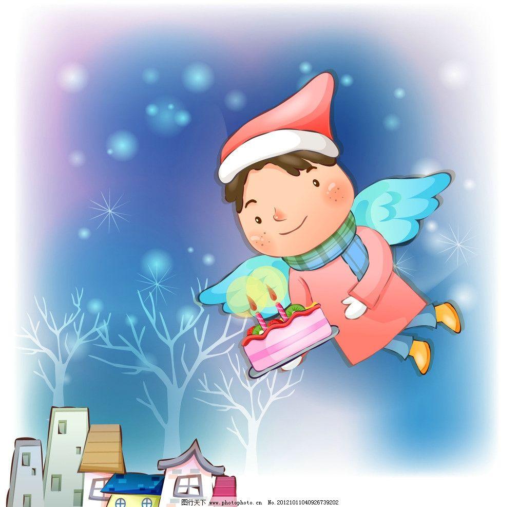 天使送蛋糕 卡通 蜡烛 冬季 房屋 树木 建筑 天空 可爱 梦境