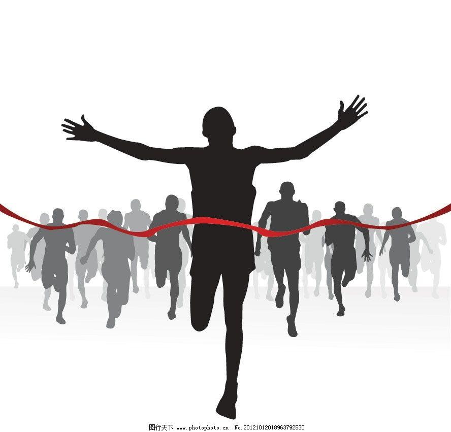 奔跑冲刺运动员剪影 奔跑 跑步 冲刺 运动员 终点 人物 剪影 体育运动