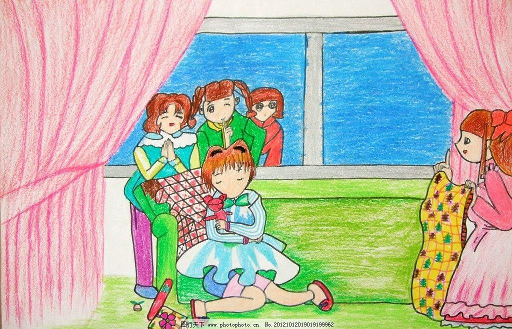 小女孩 手绘 蜡笔画 儿童画 睡觉 少女 伙伴 绘画书法 文化艺术 设计