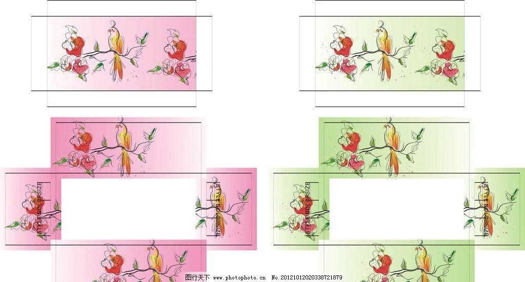 盒子 花鸟 广告设计 包装设计 矢量图库 花草 花纹花边 底纹边框