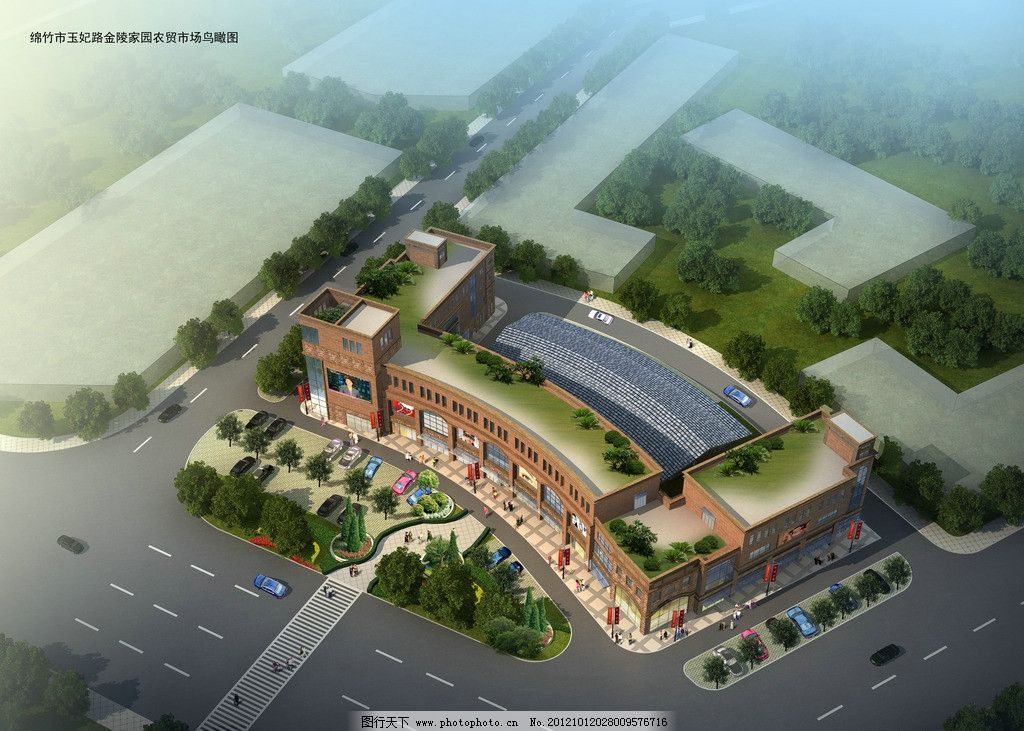 建筑鸟瞰图 建筑 鸟瞰 道路 绿化 花坛 超市 广场 建筑设计 环境设计