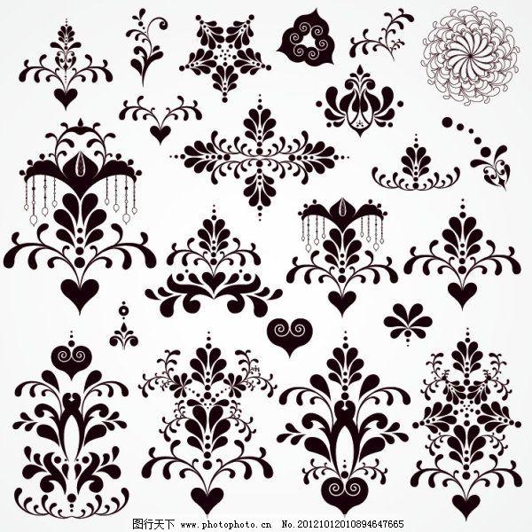 黑白装饰花纹矢量图