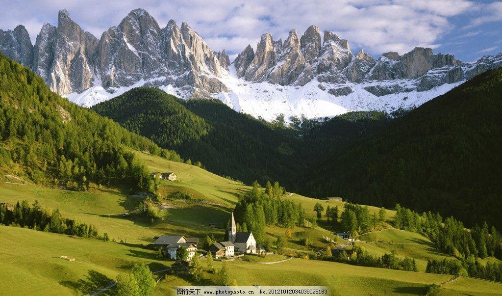 意大利风景 雪山 山坡 草地 树林 蓝天白云 国外风景 国外旅游