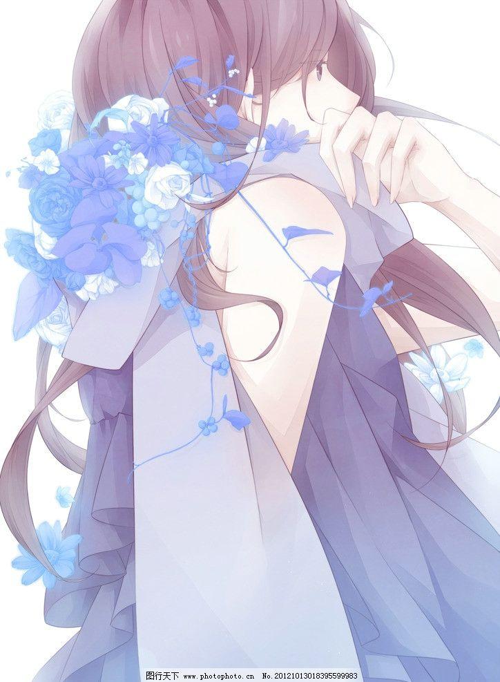 动漫美女 动漫 女孩 蓝色 侧面 花纹 梦幻 奇幻 长发 动漫人物 动漫