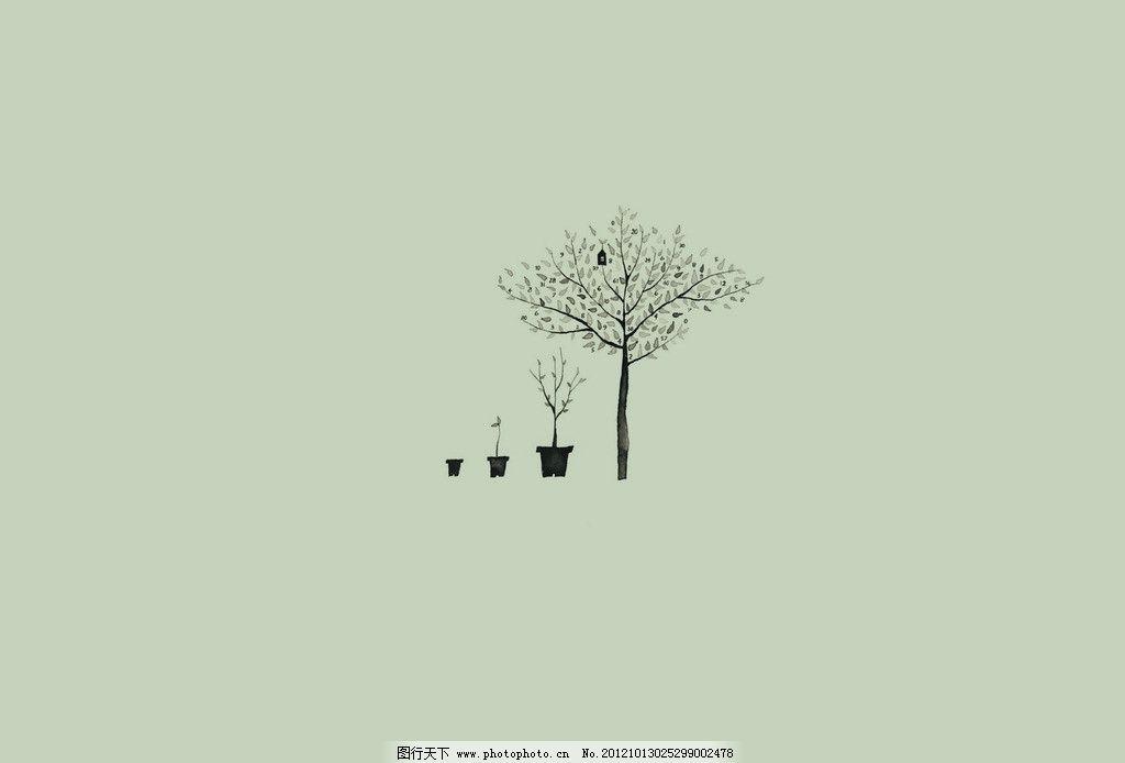 树木 树叶 背景 盆栽 手绘 树木树叶 生物世界 设计 72dpi jpg