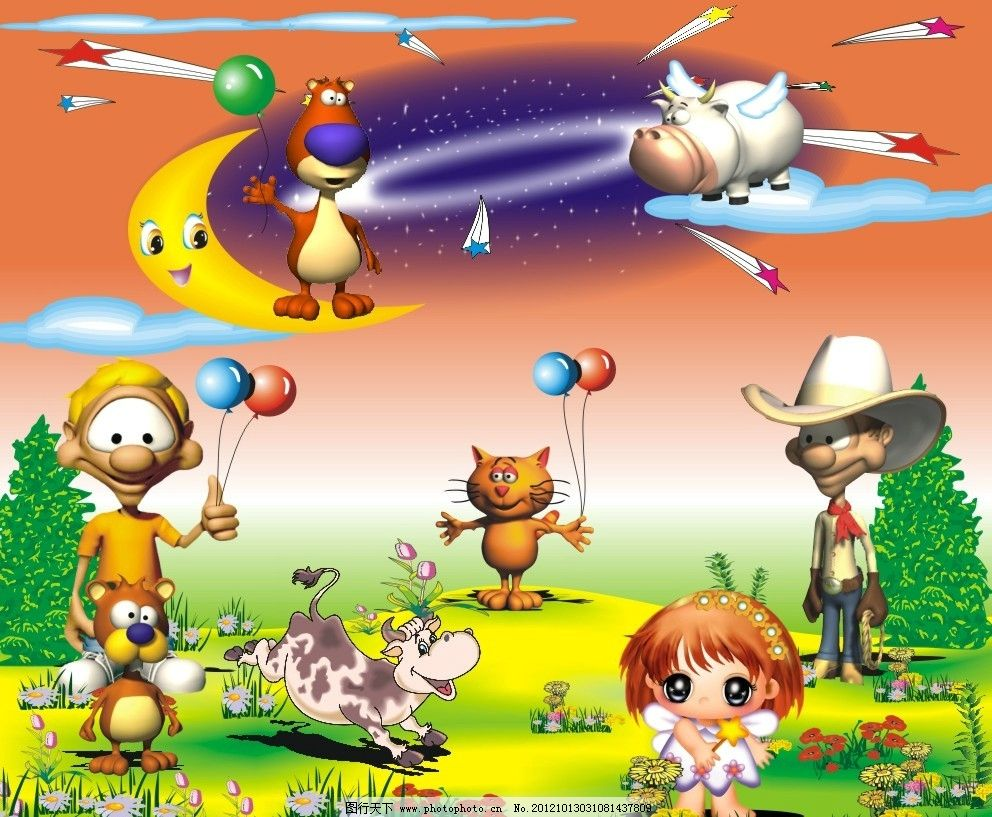 娃娃机 卡通背景 卡通动物 卡通人物 鲜花 草地 游戏机广告 游戏背景