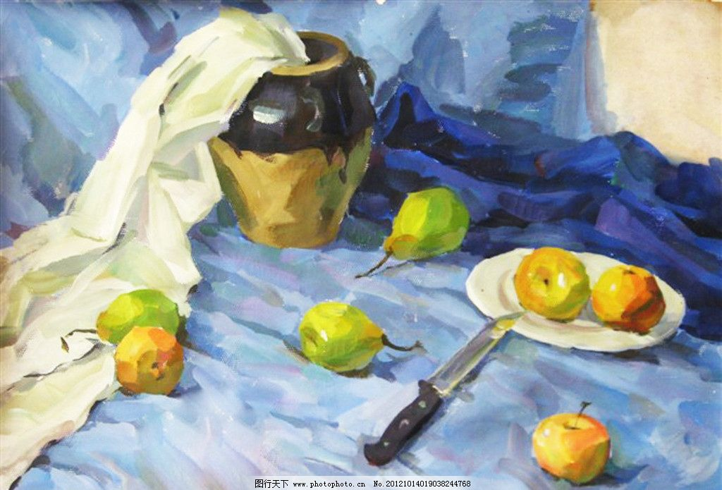 静物水粉写生 水粉 水彩 写生 静物 罐子 水果 绘画书法 文化艺术