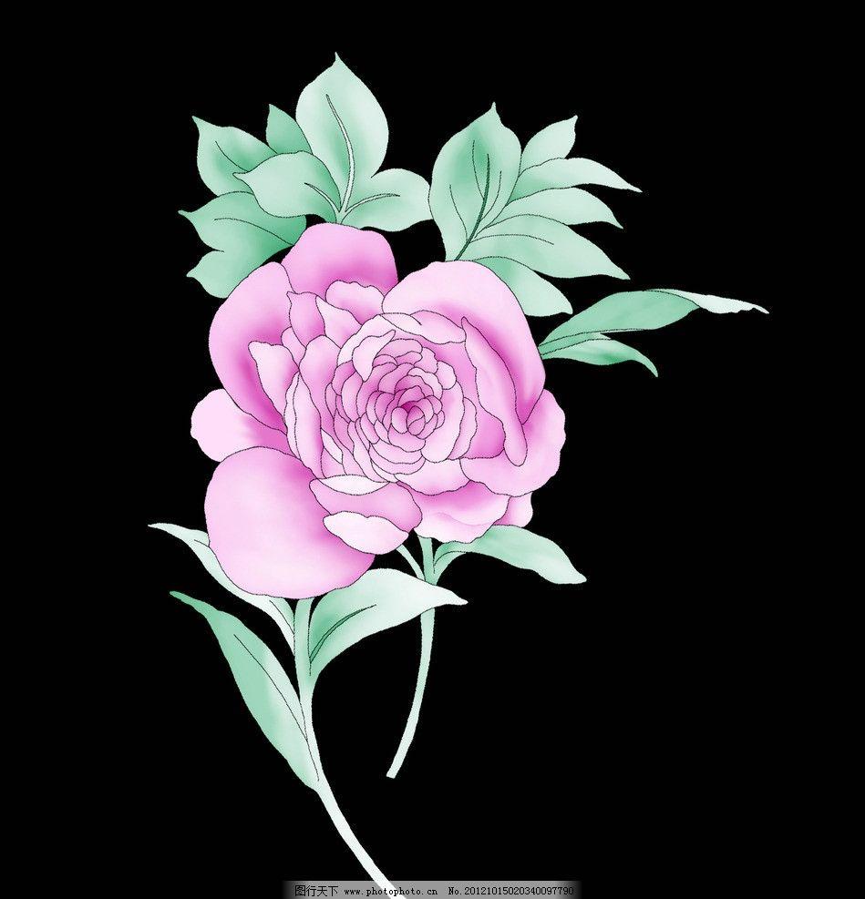 高清手绘花纹 手绘 花卉 牡丹花 植物 花纹 花边花纹 底纹边框 设计
