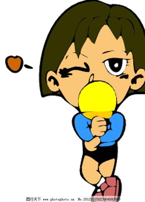 乒乓球 体育运动 体育项目 中国乒乓球 卡通人物 表情 学生 小孩 男孩