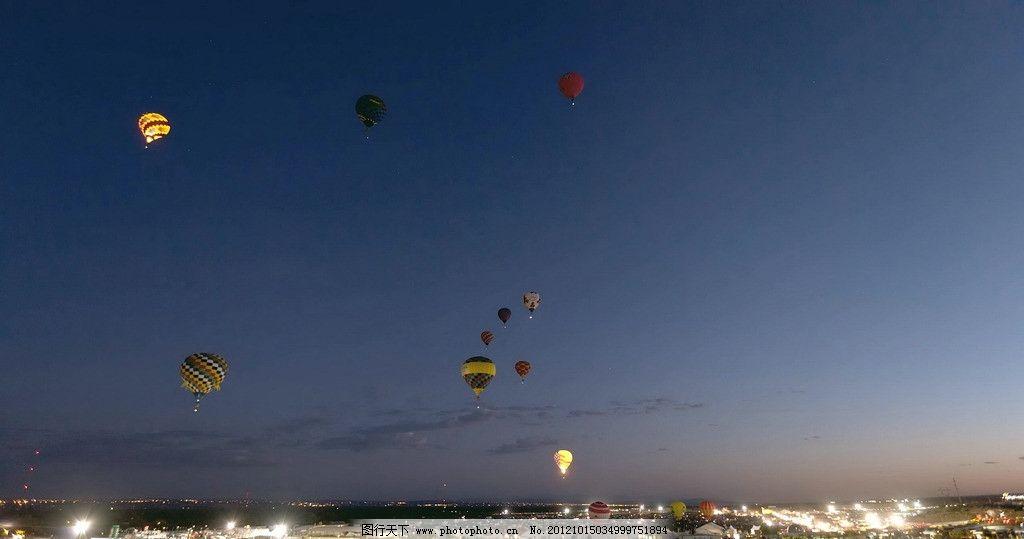 热气球 蓝天 夜晚 白云 蓝色天空 空中热气球 摄影 其他 自然景观 72d