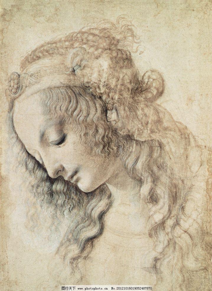 达芬奇 少女 素描 发簪 文艺三杰 低头 经典 绘画书法 文化艺术 设计