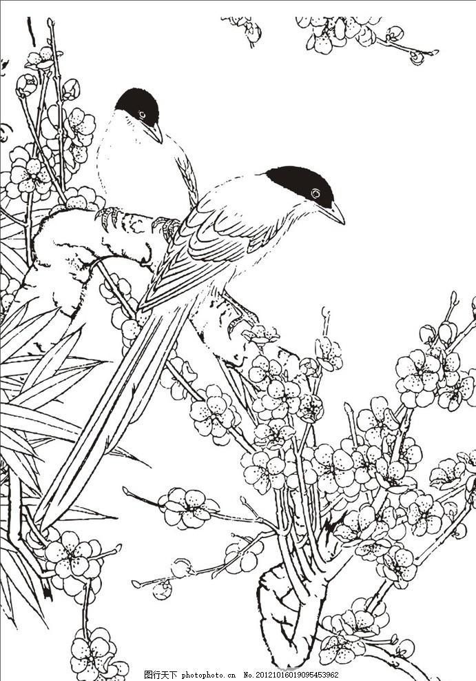 花鸟画矢量图 工笔画矢量图 中国传统元素矢量图 花鸟素材 中国矢量元