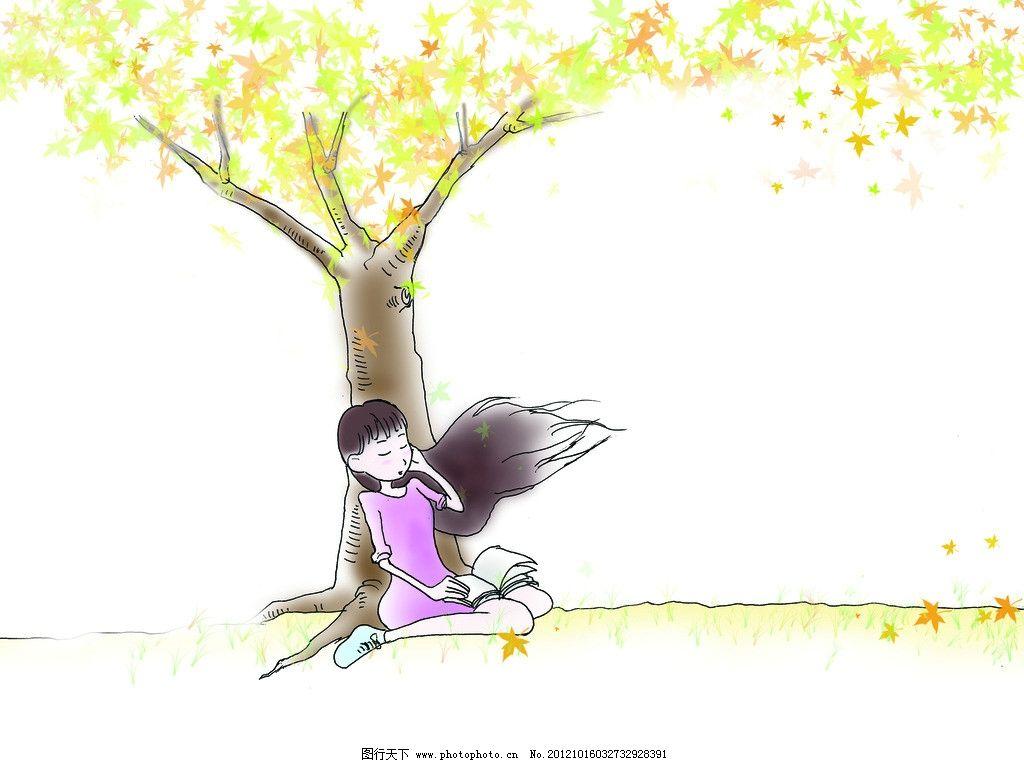 桃花树下看书的女孩 psd分层 源文件 免费素材下载图片