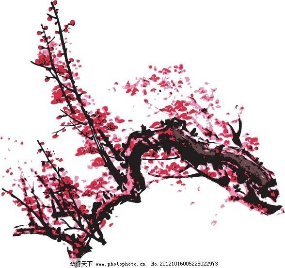 矢量手绘桃花素材背景