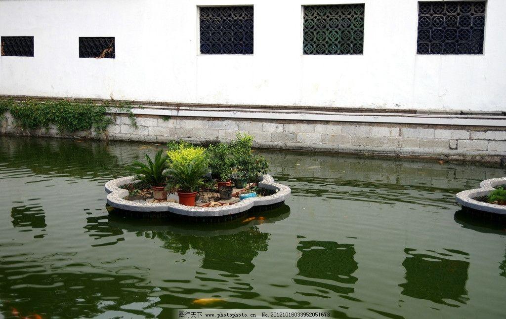 池水 上海大都市 建筑景观 自然景观 摄影 城隍庙 窗棂 倒影
